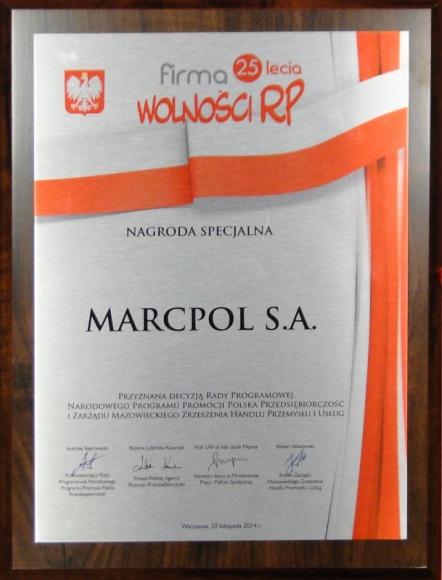 """MarcPol nagrodzony tytułami """"Firma 25-lecia wolności RP"""" i """"Przedsiębiorca 25-le"""