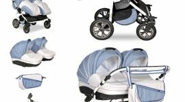 wózek bliźniaczy Indigo DUO 2w1 w kolorze Pure Ice marki Indigo Pico Baby